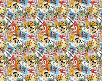 Disney Donald Posters Fabric Disney Fabric Donald DuckFabric Vintage Comic Quilt Fabric Vintage Disney Inspired Chip n Dale Donald Quilt