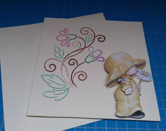 Embroidered greeting card and 3D 745