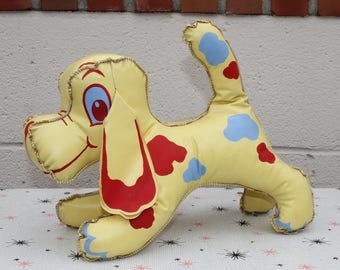 Vintage Vinyl Stuffed Toy Dog Yellow with Spots Classic 50's
