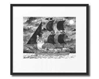 """Cat Pirate (11""""X14"""" Print)"""