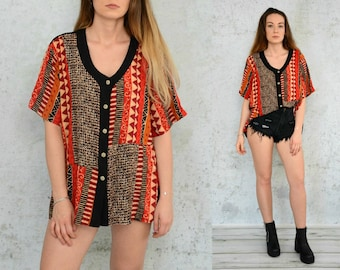 Ethnic blouse Retro indian blouse aztec 80s vintage women shirt XL - XXL size