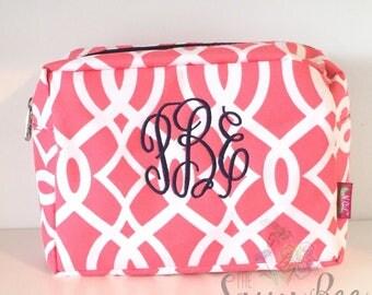 Monogram Bag, Monogrammed Coral Makeup Bag, Monogrammed Cosmetic Bag, Makeup Bag, Cosmetic Bag