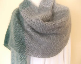 Hand-knit mohair-silk-wool wrap/shawl in green and silver