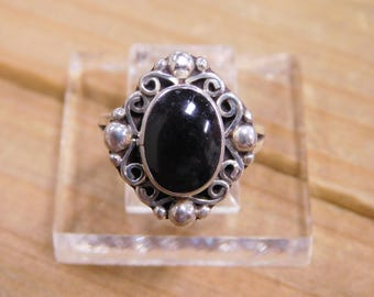Vintage Sterling Silver Onyx Ring Size 7.75