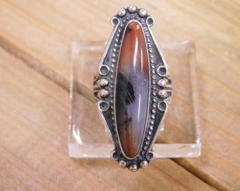 Sterling Silver Ring with Petrified Wood Size 4.75