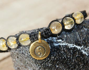 shamballa bracelet with rutilated quartz bead