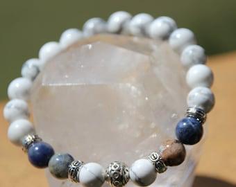 sodalite, calcite and howlite Beads Bracelet