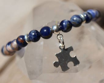 sodalite with calcite silver puzzle charm bracelet