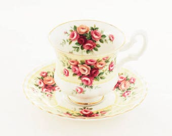 """Royal Albert's very cute """"Rosedale Series Evesham""""  teacup and saucer, Montrose-shape (small size)"""