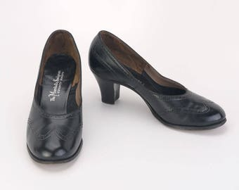 Black Brogued Court Shoes c1950 by Marshall & Snelgrove