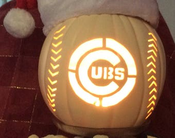 "Cubs logo on the 9 "" Soft White Foam Pumpkins"