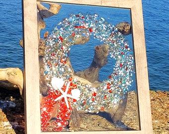 Sea glass frame, Holiday Wreathe