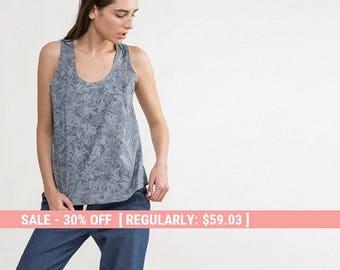 Printed tank top,tank top,loose shirt,cotton printed shirt,Minimalist top,Loose printed top,printed Blouse,summer top,printed short sleeve