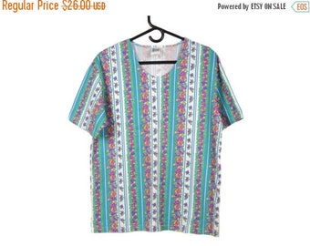 SALE Vintage 90's Mixed Blues Floral Striped T-Shirt Medium/Large FREE Shipping!