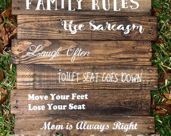 Family Rules Wood Sign / Natural / Rustic / Reclaimed / Home Decor /  Handmade Sign