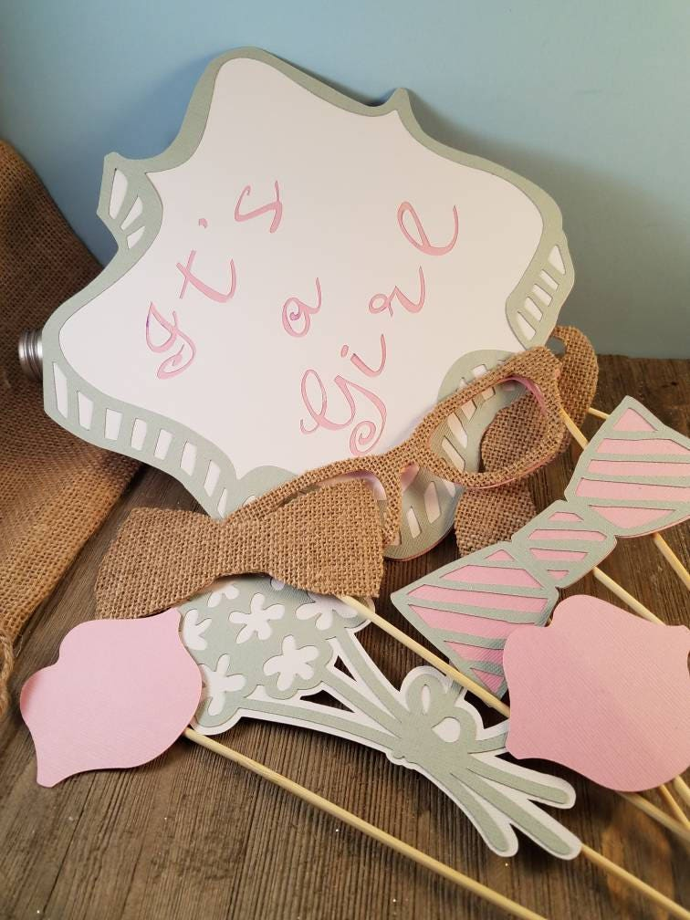 Rustic Baby Shower Decorations Girl, Rustic Baby Shower Props, Burlap Baby  Shower, Rustic