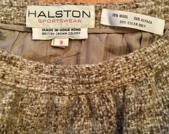 Vintage Halston Beige Tweed Wool Alpaca Skirt