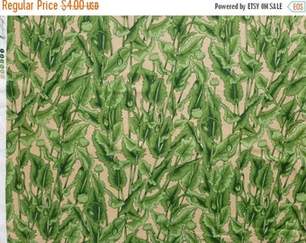 20% Off Isabella by Valori Wells for FreeSpirit Green Poppy Buds and Leaves on Tan 100 Percent Cotton Half Yard