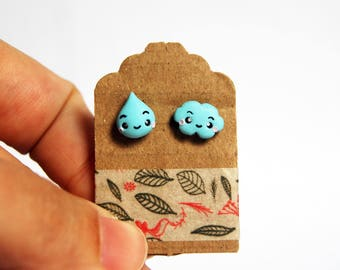 Drop earrings and cloud in fimo-Kawaii Collection Autumn