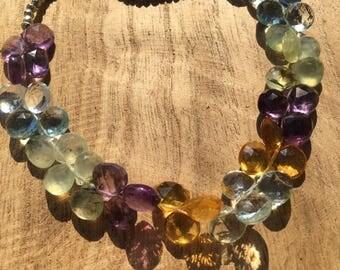 Multi gemstone adjustable necklace, faceted briolettes citrine, amethyst, blue topaz, prehite & pyrite  beads, 14k gold fill, tassel.