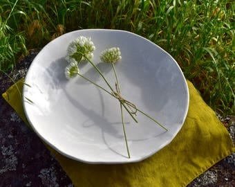 Serving Bowl, White Ceramic Bowl, Handmade Stoneware Bowl, Wedding Gift