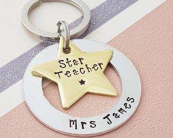 Teacher gift - personalised teacher gift - teacher keyring - gift for teachers - thank you gift - personalised keyring - thank you keyring