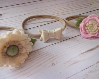 Handmade Felt Flower Headband Trio - Baby / Toddler / Girl