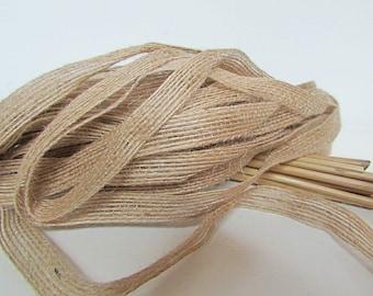 10 meters of Ribbon in jute rope of beige - 10 mm, 15 mm - 1.30