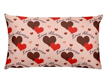 20x12 Rectangle Hearts Pillow, Love Always Printed Pillow, Valentine's Day Home Decor