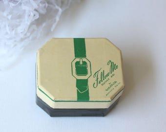 Vintage Follow Me by Varva Face Powder, Suitcase Design, Travel Size, Vintage Dusting Powder
