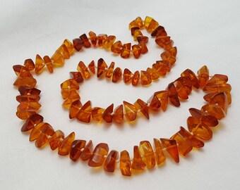 Polished Amber Nugget Necklace