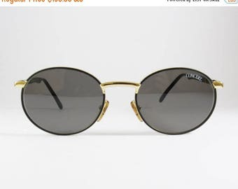 ON SALE Vintage 80s Black Gold Round Men's Sunglasses, Concert Mod:2339, Metal Black Gold Hardware Round Rimed Men's Sunglasses made in Ital