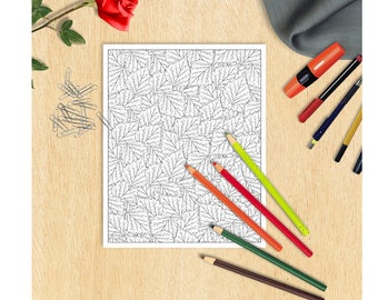 Printable Coloring Page leaves Coloring sheet adult coloring page Autumn leaves coloring page