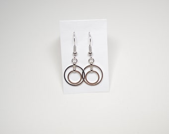 Silver Double Hoop Drop Earrings, Everyday Earrings, Circle Earrings, Lepa Jewelry