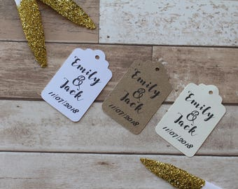Personalised Rustic Wedding Favour Tags- Bride and groom names and wedding date