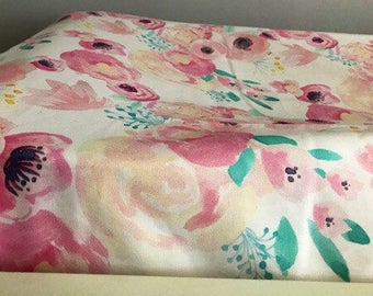 Changing pad cover | indie floral change pad | minky changing pad cover | floral changing pad | changing pad girl |