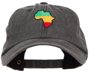 Rasta Africa Map Embroidered Unstructured Cap