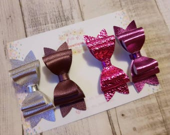 Glitter Hair Bows, silver Hairbows,pink gift set, baby bows, hair accessories, handmade set of 4 hair clips summer bows,birthday gift, clips