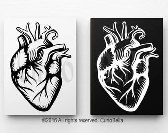 Anatomical Heart Vinyl Decal, Heart Vinyl, Heart Decal, Heart Sticker, Wall Sticker, Wall Decal, Laptop Decal, Laptop Sticker