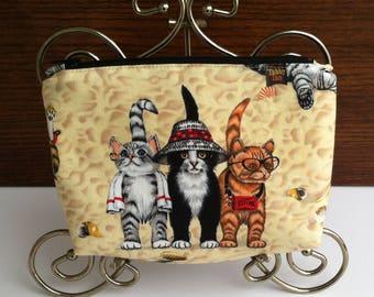 Cat Cosmetic Bag / Cat Makeup Bag / Kitten Cosmetic Bag / Kitten Make up Bag / Cat and Kitten Cosmetic Bag