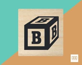 Alphabet Block B - 3cm Rubber Stamp (DODRS0141)