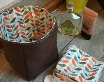 "12 pretty wipes/cotton washable and their basket ""plants"""