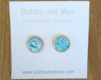 Handcrafted Rose Gold with Teal Marble Polymer Clay Cabochon Earrings