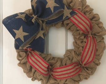 Burlap Patriotic wreath, Flag Wreath, stars and stripes wreath, red, white, blue wreath, burlap wreath, Americana Wreath, American
