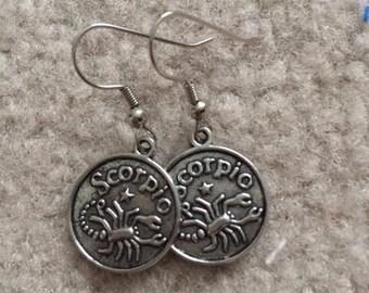 """Silver charm earrings """"scorpio"""""""