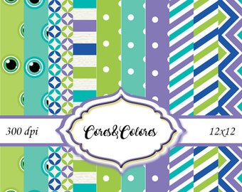 Monster  - 10 High resolution digital papers and Pngs 12 x 12 / 300dpi New Collection