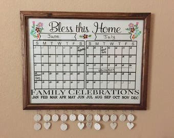 Busy Board- Calendar - Wall Calendar - Dry Erase Board - Birthday Calendar - Monthly Calendar - Calendar Organizer - Bless This Home