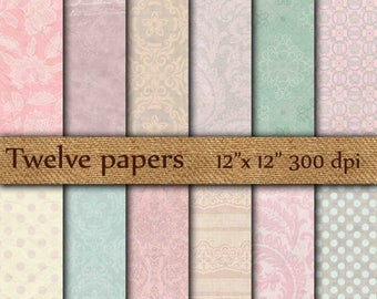 "40% OFF Damask digital papers: ""PINK PAPERS"" damask texture , damask wallpaper , floral texture , damask background"