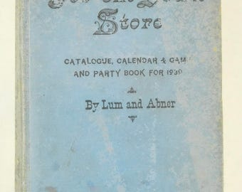 1939 Hardback Book Jot'em Down Store by Lum and Abner Radio Broadcast Personalities Games Jokes Quizzes Illustrations