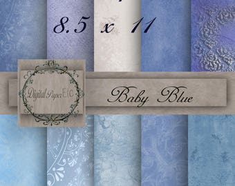 Baby Blue Digital Papers, Baby Blue Printable Papers,  Blue Scrapbook Digital Baby Blue  8.5 x 11   No P 16SA